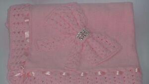 LOVELY NEW PINK  Hand Knitted Crochet Bring Home  Baby Blanket Cot Pram Handmade
