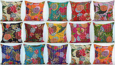 - 16'' INDIAN CUSHION COVER PILLOW CASE KANTHA WORK FLORAL ETHNIC THROW DECOR ART