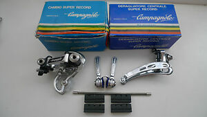 Vintage-NOS-Campagnolo-Super-Record-derailleur-shifter-Braze-on-set-MINT-BOXED