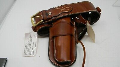 Capable Lot Of Three Tooled Brown Leather Gunbelts Desantis And Others Size 32 Hunting