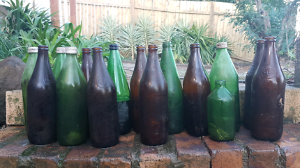 Old Retro RARE GREEN and brown Glass Beer bottles