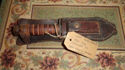 CAMILLUS orig Vietnam War era USAF JET PILOT KNIFE 1961-66 orig scabbard, stone