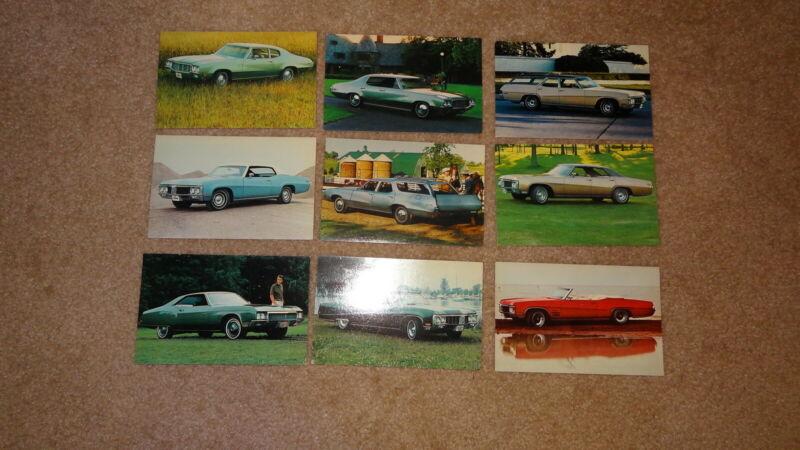 Lot of 9 1970 Buick postcards. Electra, Riviera, Le Sabre, Skylark, Wildcat. 70