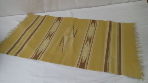 """Vintage CHIMAYO WOVEN RUG MAT Runner 38"""" by 20"""" Brown & Yellow"""