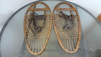"""GREAT OLD Snowshoes 25"""" Long by 11"""" wide with OLD LEATHER Bindings Signed FABER for sale  Shipping to Canada"""