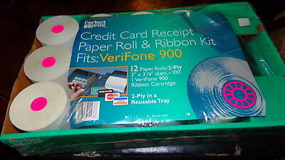 Perfect Print Credit Card Receipt Printer Paper Ribbon Kit Verifone 900 12 Roll