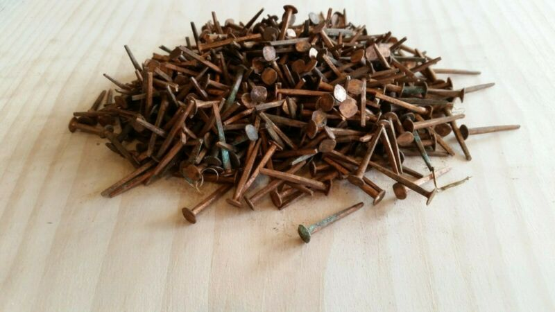 "New old stock 1"" Cut Copper Nails One pound or approximately 450 nails"