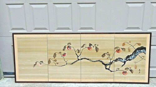 ANTIQUE JAPANESE WATERCOLOR AND PAINTED 4-PANEL SCREEN WITH FRUITING TREE BRANCH