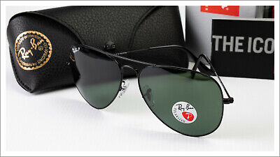 Ray-Ban 3026 Black Aviator Sunglasses Polarized Large 62mm