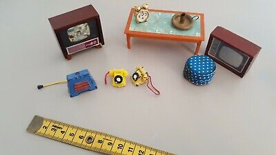 Vintage  Dolls House furniture  - 1960s and 70s - TELEPHONES, TELEVISIONS