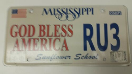 2007 MISSISSIPPI Sunflower School License Plate RU3