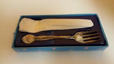 Vintage Michael Friedman Silver Plate baby fork & Spoon Set in original box