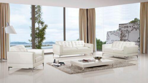 3 Pc Modern White Italian Top Grain Leather Sofa Loveseat Chair Living Room Set