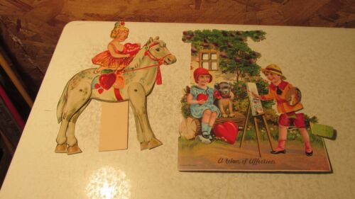 2 Old Germany Mechanical Valentines