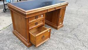 SOLID TIMBER ANTIQUE STYLE 4 DRAWER DESK*OFFICE*COMPUTER*INLAID Cartwright Liverpool Area Preview