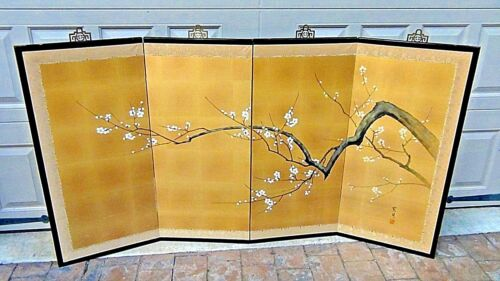 ANTIQUE CHINESE 4 PANEL WATERCOLOR ON GILT SILK ROOM SCREEN OF BLOSSOMING CHERRY