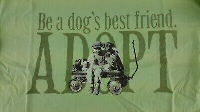 BE A DOG'S BEST FRIEND ADOPT CELERY GREEN T SHIRT MEDIUM