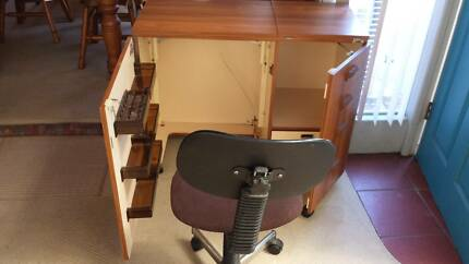 Sewing cabinet and chair