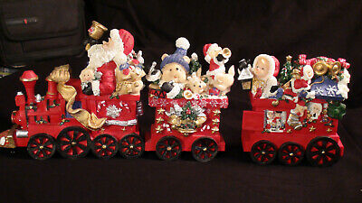 Vintage 3 Piece Porcelain Christmas Train Set 2002 Brand New