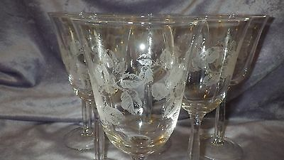 White Wine Water Glasses Goblets Floral Design Bell shape bowl 6 10 ounce stems