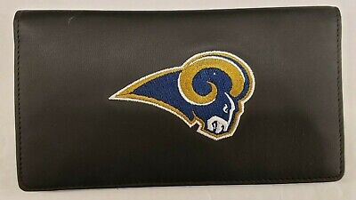 NFL Los Angeles Rams Genuine Leather Checkbook Cover, New (Embroidered -