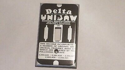 Vintage Style Delta Unisaw Vinyl Sticker For Plastic Light Switch Cover