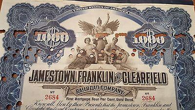 Jamestown, Franklin & Clearfield Railroad Bond Stock Certificate N.Y Central