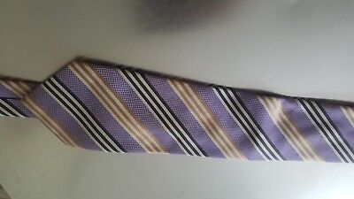 Rael Brook tie vintage diagonal stripes in golden, white, black and lilac colour