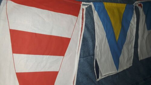 POTTERY BARN 11 ft Nautical Signal Code Flag Pennants Bunting Cotton 2009 Banner