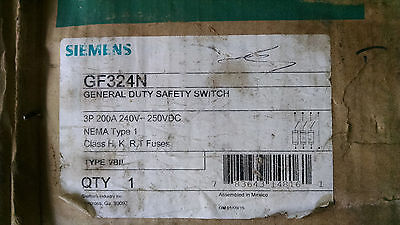 Siemens Gf324n 200amp 240v Fusible 4wire Disconnect Switch Nema 1 New