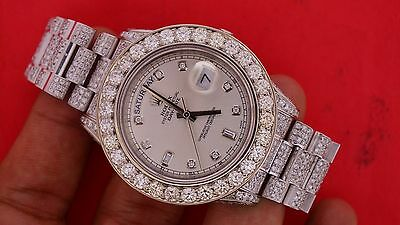 Rolex White Gold 41mm President Day Date 2 Watch 218239 Flooded Diamonds Video