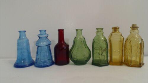 Lot of 7 Vintage Colored Wheaton Mini Bottles