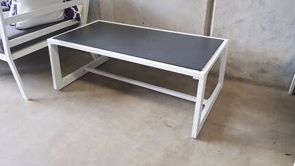 CORFU COFFEE TABLE IN WHITE WITH GREY SPRAYSTONE GLASS TOP