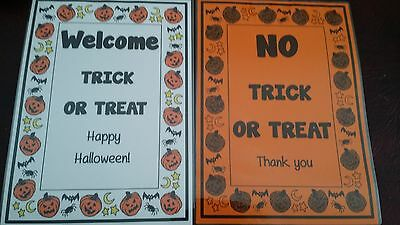 No Trick Treat Poster (NO TRICK OR TREAT / WELCOME TRICK OR TREAT - A4 Laminated poster - + sucker )