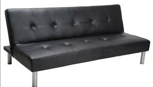 Futon black leather