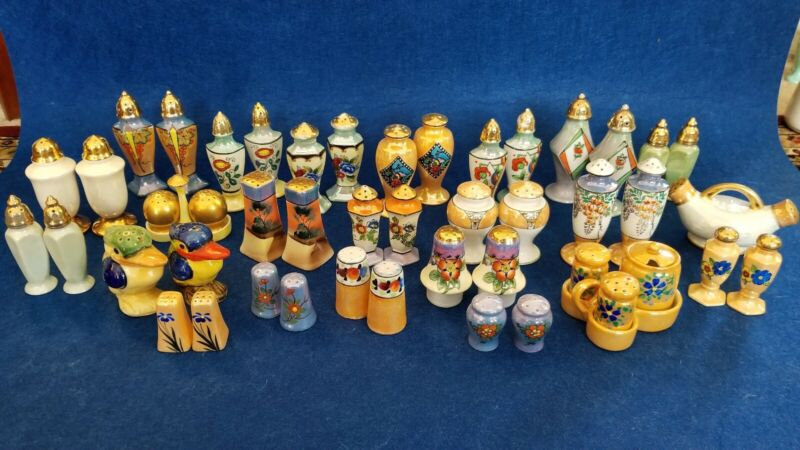 Vintage Lot of 23 sets of Japanese Lusterware Salt And Pepper Shakers