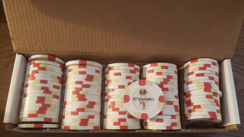 QTY. 100 Used Paulson Pharaoh Poker Chips. White $1 Denomination.