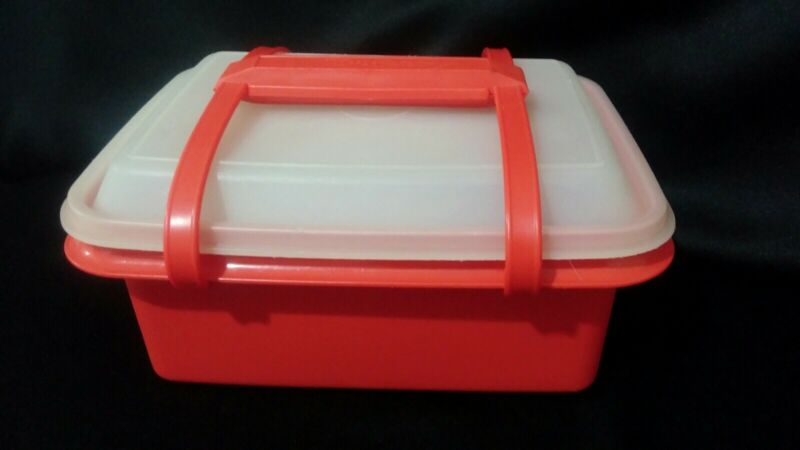 Vintage Tupperware Kids Pack n Carry Red Lunch Box w/Containers