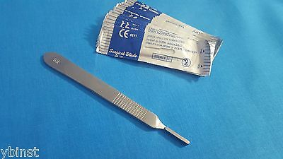 50 Sterile Surgical Blades 15 15c With Free Scalpel Knife Handle 3