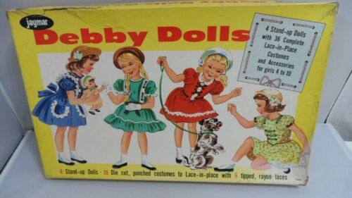 #980  DEBBY DOLLS WITH LACE-IN-PLACE CLOTHES  CUT USED   GOOD CONDITION. 6 LACES