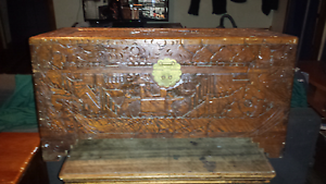 Carved Camphor wood chest Laverton Wyndham Area Preview