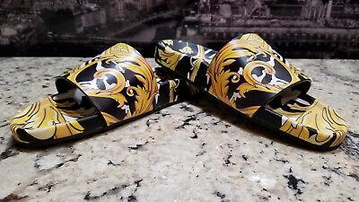$525 Authentic Versace Barocco Print Palazzo Flip-Flops Slides