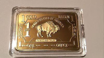 Lot of 10- 1 OZ 100 MILLLS .999 Fine Gold Buffalo Bar Fine Bullion