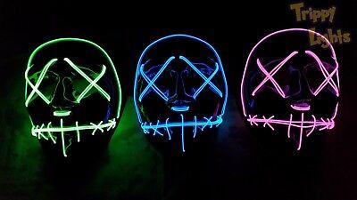 Original Light Up LED PURGE Mask! Party Rave Festival Halloween Costume MASK!!](Halloween Mask Origin)