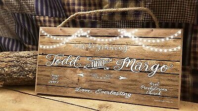 """Personalized Our Beginning Love Everlasting Rustic Wedding Lights 5"""" x 10"""" SIGN"""