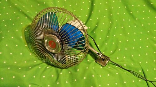 """Vintage car oscillating fan 7""""  12-volts w/ chrome cage blue clear blades Clean"""