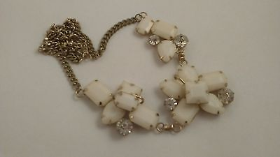 60s -70s Jewelry – Necklaces, Earrings, Rings, Bracelets Vintage White Lucite Chunky Necklace 1960's $50.99 AT vintagedancer.com