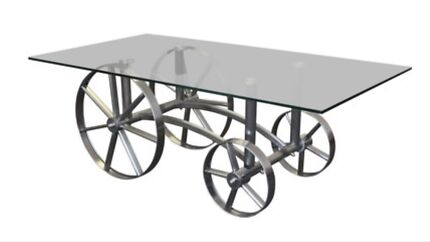 Wagon Coffee Table with Glass Top