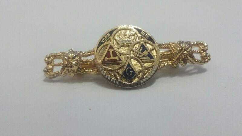 Freemason Masonic York Rite Pin Triple Tau Crown Compass