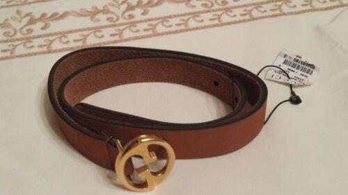 NWT NEW Gucci girls boys dark beige brown suede GG buckle belt S 284864